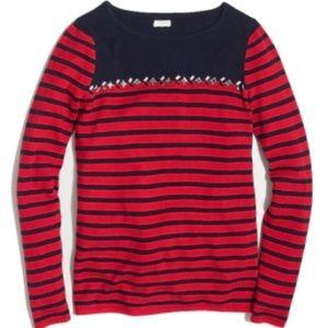J.Crew Red Breton-Striped Sweater with Gems